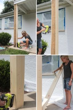DIY Craftsman Style Porch Columns - Shades of Blue Interiors - - How to wrap existing porch columns in stained wood and build a craftsman style base unit to add character and curb appeal to your front porch. Front Porch Posts, Front Porch Columns, How To Build Porch Columns, Cedar Porch Posts, How To Replace Porch Posts, Rustic Front Porches, Front Porch Lights, Porch Beams, Concrete Front Porch