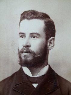 Cabinet Card Gentleman Handlebar Mustache Beard MI Central Official Photographer