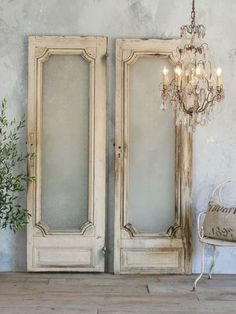 white antique doors with chandelier - Google Search