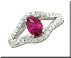 18KW over 1ct Mozambique Ruby with Diamond Ring
