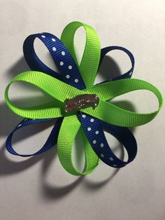 Seattle Seahawks hair bow by TotBowsByMaria on Etsy