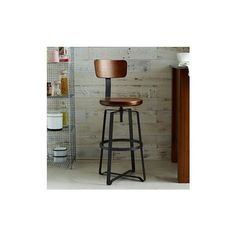 West Elm West Elm Adjustable Industrial Stool With Back, Natural/Raw... ($229) ❤ liked on Polyvore featuring home, furniture, stools, barstools, west elm, steel barstool, adjustable stool, adjustable barstools and industrial counter height stools
