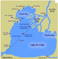 Map of Lake St. Clair, Michigan