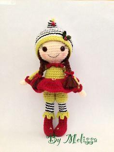 "My version of ""Elf on the Shelf"" amigurumi Christmas elf"