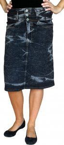 Black Acid Wash Denim Knee Skirt $30 misses; $32 plus