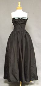 Black & Blue Taffeta 1940's Evening Gown w/ Tulle Accents