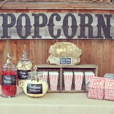My Popcorn Bar from last nights Outdoor Movie night Party; Outdoor Movie Party, Movie Night Party, Party Time, Party Fun, Popcorn Bar, Movie Popcorn, Popcorn Station, Popcorn Stand, Candy Popcorn