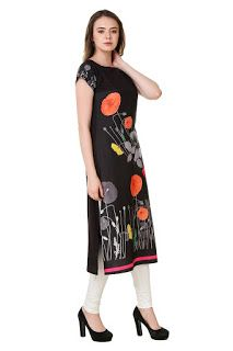 91d5671e6c6 Rs. 499 Black Crepe Digital Print Kurti from SWAGG Printed Kurti