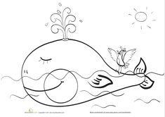Preschool Animals Worksheets: Happy Whale Coloring Page Whale Coloring Pages, Easy Coloring Pages, Printable Coloring Pages, Coloring Sheets, Coloring Books, Halloween Pumpkin Coloring Pages, Halloween Pumpkins, Mothers Day Coloring Pages, Animal Worksheets