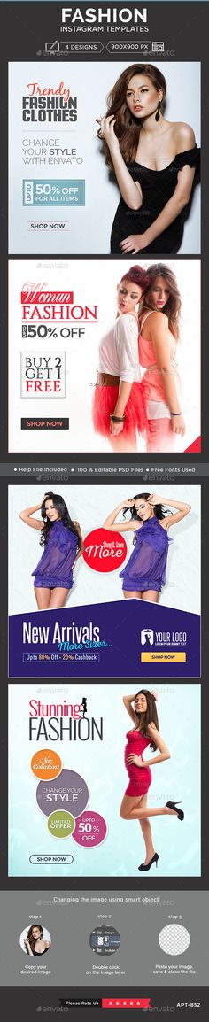 Fashion Instagram Templates - 4 Designs  #design #web #ads Download…