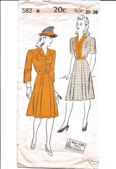 New York 582; Circa 1940s; Ladies' and Misses' Dress: Waist with convertible collar; Panel at front; Long sleeves perforated for short sleeves; 3/4 sleeves. Attached six-piece skirt laid in side plaits at front; removable belt. Width at lower edge, including plaits, size 36, 68 inches.