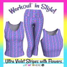 Ultra Violet Stripes with Flowers Athletic Wear by #Gravityx9 at #ArtofWhere ~ Workout in comfort and style!   This design is also available on fashion, bags, scarves, home decor and more! ~~~~~~~~~   #exercisefashion #Athleticwear  #ActiveWear #leggings #workout #yogapants #Yogawear  #womenswear #yogaleggings #groovy #purple #abstract #violet #ultraviolet #lavender   #printondemand #fashion #exercise  #exercisewear