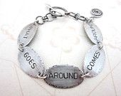 """sterling sliver bracelet with quote """"what goes around comes around"""" on Etsy $72 from HouseOfRene  https://www.etsy.com/shop/HouseOfRene"""