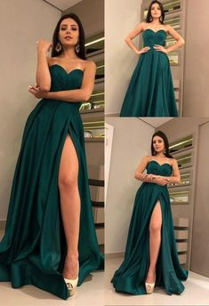 Charming Sweetheart Dark Green Prom Dress with Split Satin Long Prom Gown, Shop plus-sized prom dresses for curvy figures and plus-size party dresses. Ball gowns for prom in plus sizes and short plus-sized prom dresses for Long Prom Gowns, A Line Prom Dresses, Grad Dresses, Homecoming Dresses, Cute Dresses, Evening Dresses, Long Dresses, Sexy Dresses, Summer Dresses