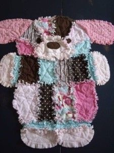 Patchwork Dog Rag Quilt - cute puppy quilt - find a rag quilt tutorial on our site.