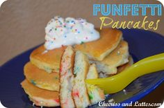 Funfetti Pancakes; great Back-to-School breakfast treat for your kids!