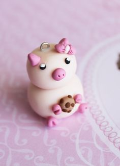 Hazel Pig Charm Chocolate Chip Cookie Polymer Clay by boriville, $6.00