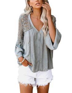 Misaky Womens Blouse Fashion V-Neck Botton Solid Casual Loose Long Sleeve Tops Split T-Shirt
