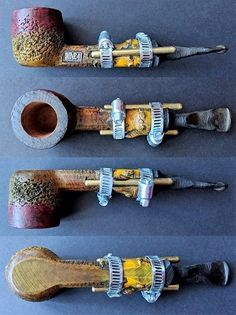 "Monstrosity ""Traction"" pipe: four views. Briar Pipe, Hookahs, Pipes And Cigars, Smoking Pipes, Woodcarving, Bongs, Weed, Crafting, Smoke"