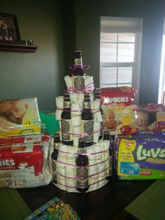 Diaper party cake for a new father