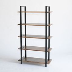 loft display shelves - black powder coated metal supports with wood shelves