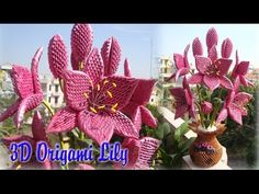 3D ORIGAMI LILY FLOWER | PAPER LILY FLOWER HANDMADE DECORATION - YouTube