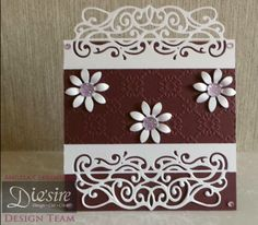 Angela Clerehugh – Die'sire Fancy Edge'ables – 6 x 6 Card – Die'sire Victoriana Edge'ables – Centura Pearl – Die'sire Flowers For all Occasions 3 - Sheena Embossing Folder – Collall Tacky Glue – Burgundy Card – Gems - #crafterscompanion