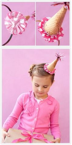 {DIY Crafts} Ice Cream Cone Party Hat Who's the birthday girl doesn't like this charming ice cream cone party hat? It is so adorable with pink ruffles and fringe!! #Icecreamcraftideas #SummerCraftideas #TickledMummyClub