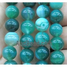 green striped agate bead, round (GA1189-10MM) approx 10mm dia Agate Beads, Green Stripes