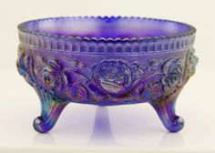 """Vintage Imperial Carnival Glass Open Rose 3 Footed Amethyst Blue Bowl 8"""" As Is"""
