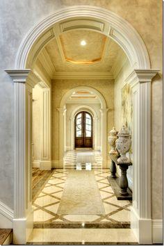 Unique Home Architecture. It looks like a castle corridor/arch ...