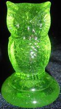 Green Vaseline glass Woodsie OWL Bird uranium figurine canary yellow screech art