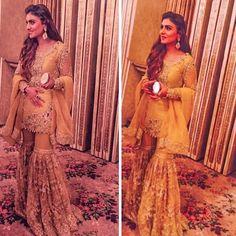 Anush in Qawali night Pakistani Formal Dresses, Pakistani Outfits, Indian Outfits, Girls Fancy Dresses, Elegant Dresses, Pakistani Couture, Pakistani Sharara, Dulhan Dress, Mehndi Outfit