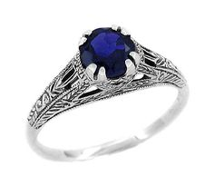 Art Deco Created Blue Sapphire Filigree Engraved Engagement Ring in Sterling Silver