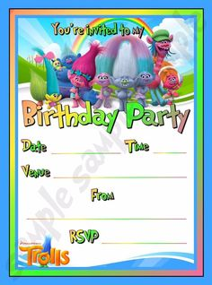 20 Trolls Birthday Party Invite / Invitations | eBay