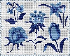 Flores azules en punto de cruz