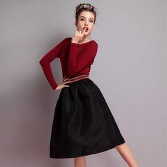 High waist Skirt saias femininas 2016 american apparel Pleated Women Midi Skirt Skirts Womens Fashion female