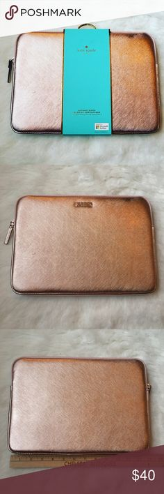 Kate Spade iPad Pro sleeve Keep your Apple iPad Pro safe during travel with this kate spade new york sleeve, which features Saffiano leather construction for a sleek look and dependable protection. The shock-absorbent inner lining defends against bumps and drops. Surface pro 3&4 also fit. As well as 11 inch laptop (in picture) Very small scratch on front 🎉BRAND NEW NEVER USED🎉🚫NO TRADES LOW BALL OFFERS GET BLOCKED🚫 kate spade Accessories Tablet Cases