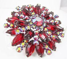 Vintage Rhinestone Pin Red Pin Aurora Borealis Pin