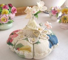 Pincushion MOTHER Handmade Pin Keeper FLORAL  by CharlotteStyle, $17.00