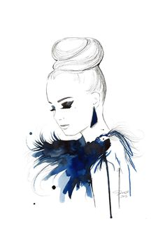 Print from original watercolor, pen and china marker fashion illustration by Jessica Durrant -Bird of Paradise, via Etsy.