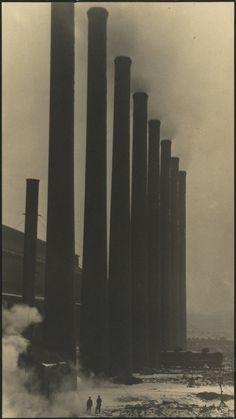 "rosswolfe: "" Margaret Bourke-White The Towering smokestacks of the Otis Steel Co., Cleveland 1927-1928 """