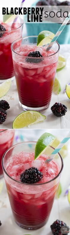 You can make your own fancy soda at home!! This Blackberry Lime Soda is sweet and sour and tart and refreshing - perfect for an afternoon treat!: