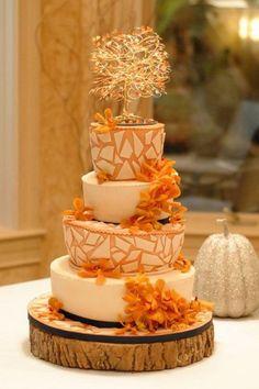 A fall themed mosaic wedding cake