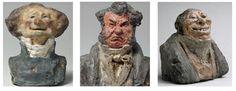 """H.Daumier, caricature di Charles Philippon, Laurent Cunin, Comte Auguste Hilarion de Kératry, terra cruda colorata a olio, Musèe d'Orsay, Parigi.  Fra il 1821 e 1835 l'artista modellò una quarantina di ritratti-caricaturali noti come """"Celebrità del Juste-Milieu"""", in riferimento a come allora venivano chiamati gli appartenenti alla classe politica più moderata. Uno spirito critico e provocatorio tipicamente francese accompagna questa rappresentazione fatta di grandi nasoni e bocche…"""
