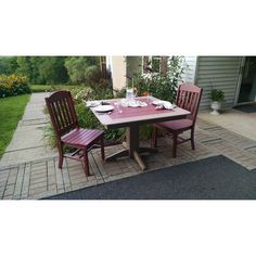 Outdoor A & L Furniture Two-Tone Poly 3-pc. Bistro Set with Side Chairs