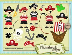 Pirates digital clip art set Personal and Commerical by flickahweb, $3.00