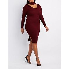 Plus Size Red Ribbed Turtleneck Cut-Out Dress - Size 1X