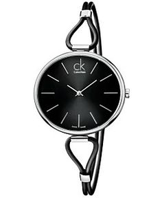 ck Calvin Klein Watch, Women's Swiss Selection Black Leather Cord Strap 38mm K3V231C1