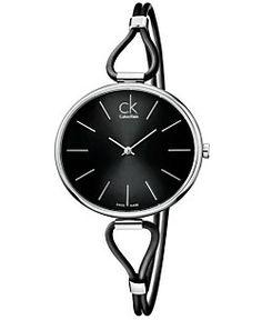 ck Calvin Klein Watch, Women's Swiss Selection Black Leather Cord Strap 38mm K3V231C1